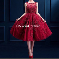Nkeru Couture New Wine Red Lace Embroidery Sleeveless A-line Evening Dress Bride Banquet Elegant Party Formal Prom Dress JO77