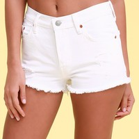 501 White Distressed Denim Cutoff Shorts