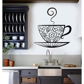 Vinyl Wall Decal Tea Cup Teacup Kitchen Pattern Decoration Stickers Unique Gift (534ig)