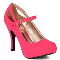 Qupid BB44 Women Nubuck Mary Jane Cutout Platform Pump - Fuchsia