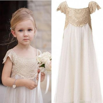 New Vintage Flower Girl Dresses for Bohemia Wedding Birthday Party Pageant First Communion Dress Little Girl Kids/Children Dress