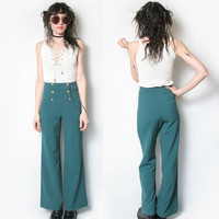 Jade Teal Sailor Pants // Wide Leg Pants // Bell Bottoms // High Waisted // Size Small // Bellbottoms