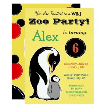 Zoo Party Penguins Yellow Custom Invitations