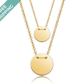 kiz&Co Gold Plated Sterling Silver Double Button Necklace