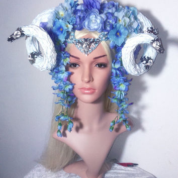 Handmade  horned flowers blue satyr faun vegan faux horns medieval fantasy wedding cosplay fairytale carnival headdress headpiece headband