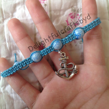 Blue anchor hemp bracelet