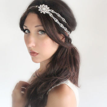 Snowflake wedding tiara Winter Bridal headband headband by deLoop