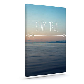 "Ann Barnes ""Stay True"" Coastal Typography Canvas Art"