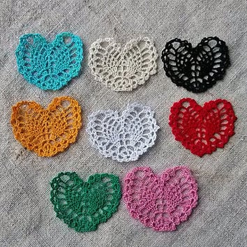 Handmade crochet heart Applique shapes hearts Hearts jewelry Appliques pattern Beautiful motif crocheted Embellishments crochet ornaments