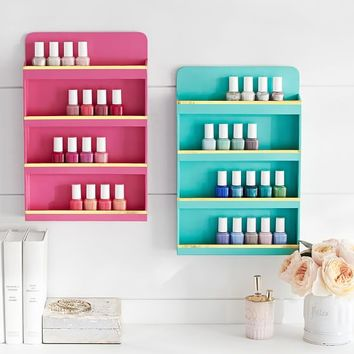 Jane Beauty Collection, Wall Nail Polish Organizer, Gold Trim