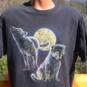 vintage 80s tee shirt WOLF wolves puppies full moon north carolina zoo t-shirt Large XL black