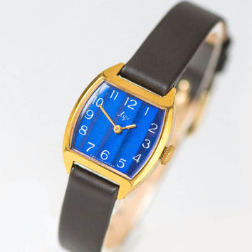 Navy stripes women watch, square lady's watch Ray, gold plated woman watch jewelry, girl's watch small, 70s watch, new premium leather strap