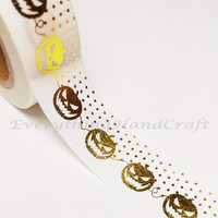 Pumpkin Dots Gold Foil Washi Tape / Halloween Masking Tape / Planner Sticker Adhesive Tape / Party Wedding Birthday Scrapbooking 10m g06