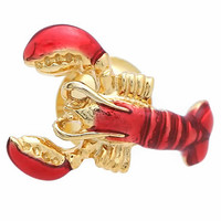 Gold Lobster Lapel Pin