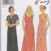 Pattern for pullover sleeveless dress with optional slip and short sleeeved, lined jacket misses size 8 10 12 14 16 18 New Look 6723 UNCUT