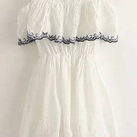 White Short Sleeve Frilled Dress