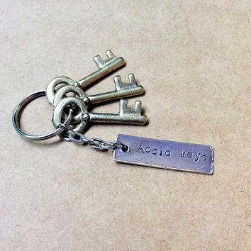 Accio keys keychain: bar charm key ring with summoning charm or customized hand-stamped text