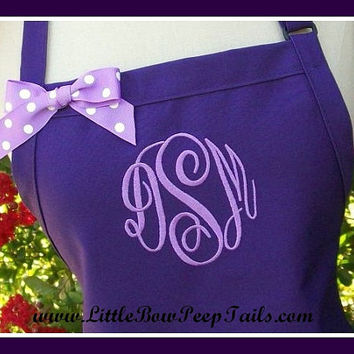 Purple Gourmet Monogrammed Apron - Personalized Chefs Gift Idea Lavender Orchid White Ribbon Bakers Unisex Womens Wedding Bridal bridemaids