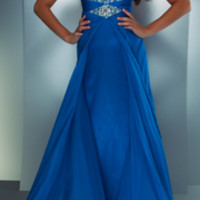 SALE! Mac Duggal 2013 Prom Dresses - Ocean Blue Chiffon Halter Gown with Embellishments - Unique Vintage - Prom dresses, retro dresses, retro swimsuits.