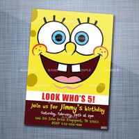 Sponge Bob Square Pants Party, Birthday Party, Invitation Card Design