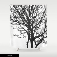 CUSTOM Shower Curtain,Choose Colors/Fonts/Tag,Add Monogram/Name,Black Branch Art,Bathroom Decor,Bathroom Art,Standard Size/XL,Printed in USA