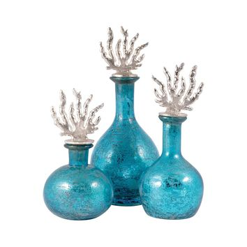 Reef Set of 3 Decanters Silver,Antique Turquoise Artifact