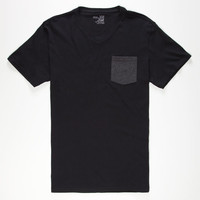 Blue Crown Mens Contrast Pocket Tee Black  In Sizes