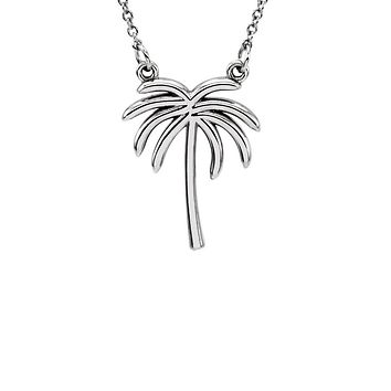 Polished Palm Tree Necklace in 14k White Gold, 16 Inch