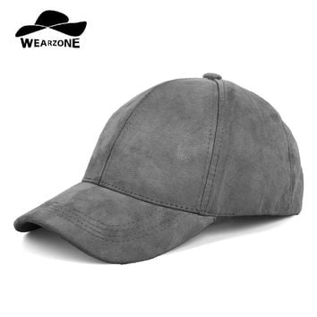 Trendy Winter Jacket WEARZONE Unisex Soft Suede Baseball Cap Casual Solid Sports Hat Adjustable Breathable Dad Hats for Women Men AT_92_12