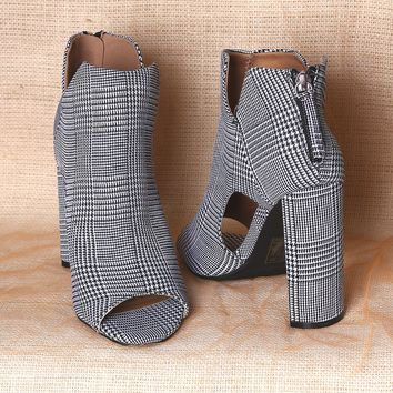 Qupid Glen Plaid Peep Toe Cutout Chunky Heeled Booties