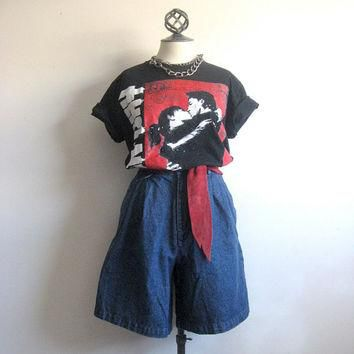 Ralph Lauren Vintage 1980s Shorts Blue Denim Jean Flare Shorts 8