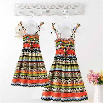 DCCKWQA Summer Mother Daughter Dress Casual Boho Vestidos Mommy And Me Clothes Print Family Look Matching Beach Mom Girls Dresses