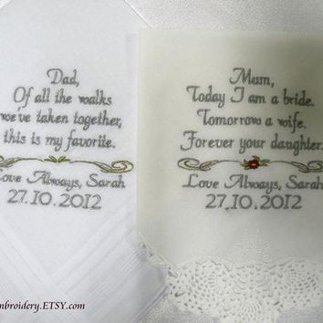 Set of Two Wedding Handkerchief Mother or Father of the Bride Mother or Father of the Groom By Canyon Embroidery