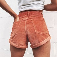Summer Classic Fashion Women Cool Corduroy Pocket Rolled Hem Shorts Brick Red