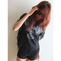 Owl Pretty Animal Fantasy Fashion Stone Wash T Shirt Poncho Fringe