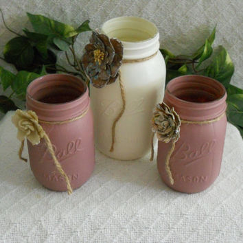 Painted mason jar set in cream and brown, Painted mason jar. painted jar. Painted mason jars. Shabby chic, flower vase, candle holder