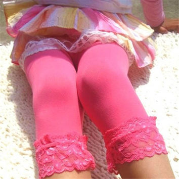12 Colors Sweet Girl's Lace Velvet Leggings Ballet Bottom Leggings