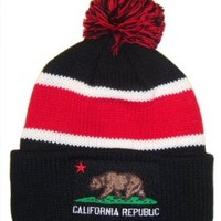 Academy Fits California Republic Pom Ski Beanie Cap Hat (Black & Red , One Size)