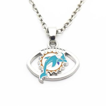 Hot Sale 10pcs/lot Silver Football Miami Dolphins Pendant Necklace 20 Inch Chains Necklace For Women Sports Necklace DIY Jewelry
