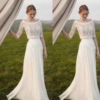 Elegant Two Pieces  Lace  Arab Wedding Dress Sheath 2017 Half Sleeves Bohemian Bridal Dresses Simple Chiffon Ruffle For  Bride