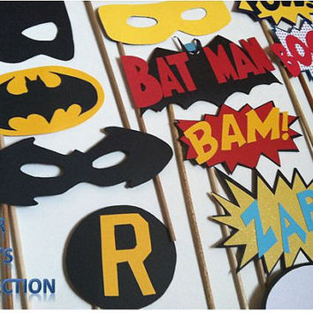 SUPER HERO: Photo booth props, batman robin superman captain america