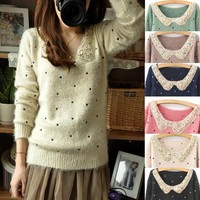 Winter Furry Sparkly Collar Polka Dot Sweater 6 Colors