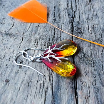 Summer Drop Earrings / Orange Yellow Crystal Earrings / Swarovski Earrings / Sterling Silver Jewelry / Summer Fashion / Unique Colour