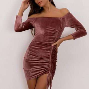 Joyfunear Drawstring Ruched Velvet Bodycon Dress