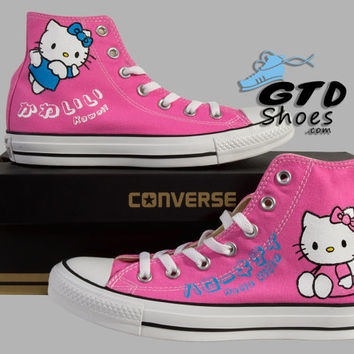 Hand Painted Converse. Hello Kitty. Sanrio  Anime. Kawaii. Pink. Handpainted shoes.