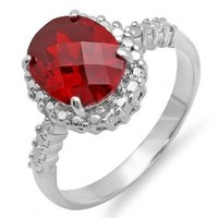 3.00 CT Sterling Silver Round & Oval Red Cubic Zirconia CZ Engagement ring (Available size 6, 7, 8)