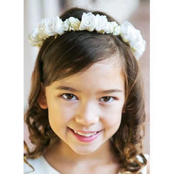 White or Ivory Floral Crown Wreath Handmade with Silk Flowers & Back Satin Bows (Girls)