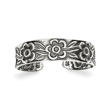 Sterling Silver Antiqued Flowers Toe Ring QR805