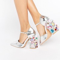 Daisy Street Flower Detail Point Heeled Shoes