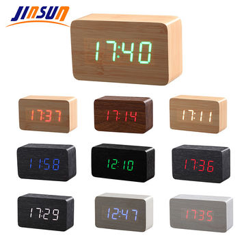 JINSUN Wood Bamboo LED Alarm Clock Reloj Despertador Modern Temperature Desk Clock LED Electronic Desktop Digital Table Clock